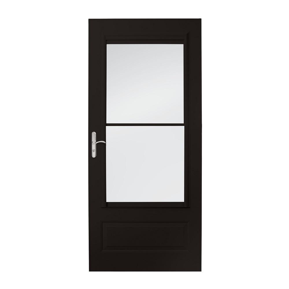EMCO 36 in  x 80 in  400 Series Black Universal Self-Storing Aluminum Storm  Door with Nickel Hardware