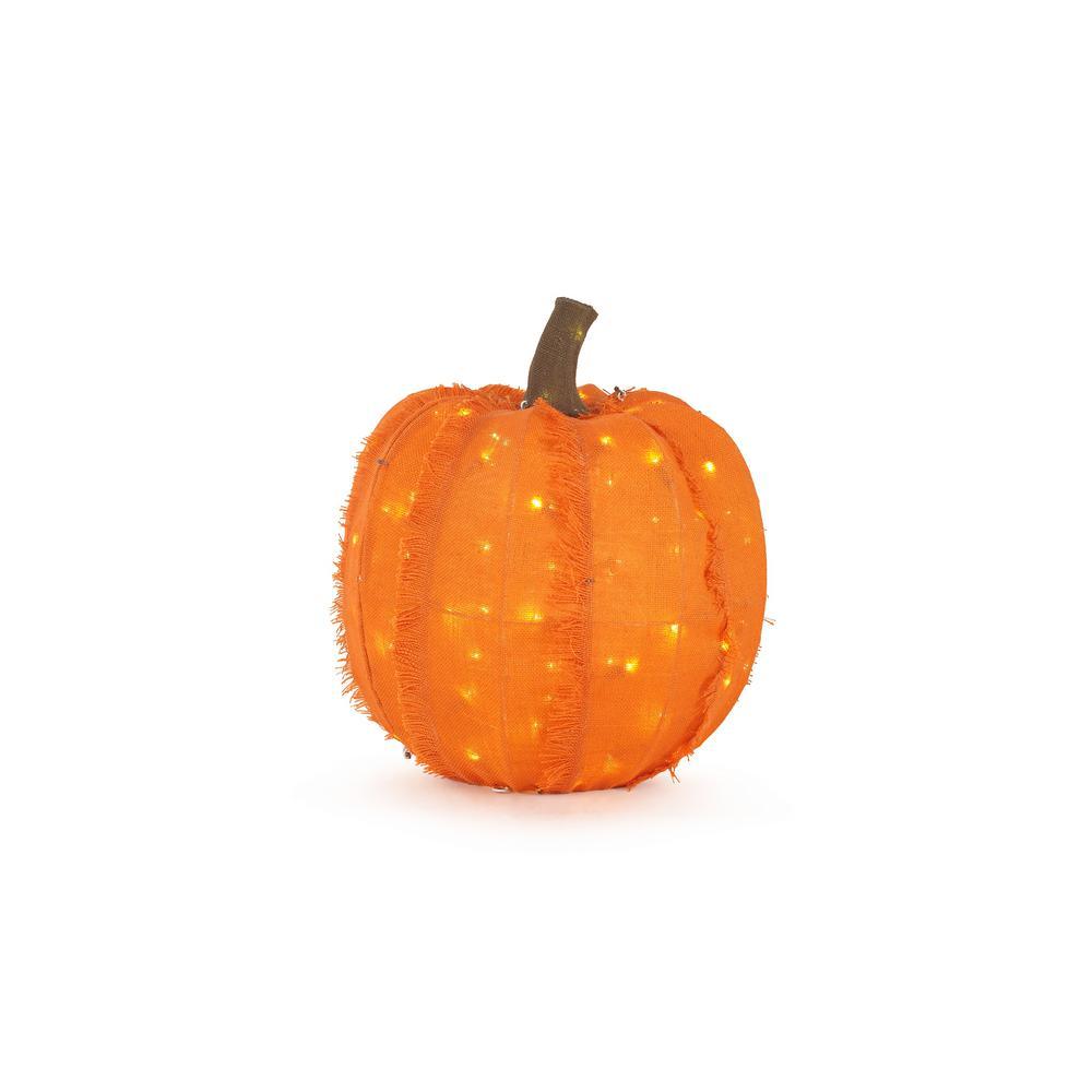 18 in. Warm White LED Burlap Pumpkin