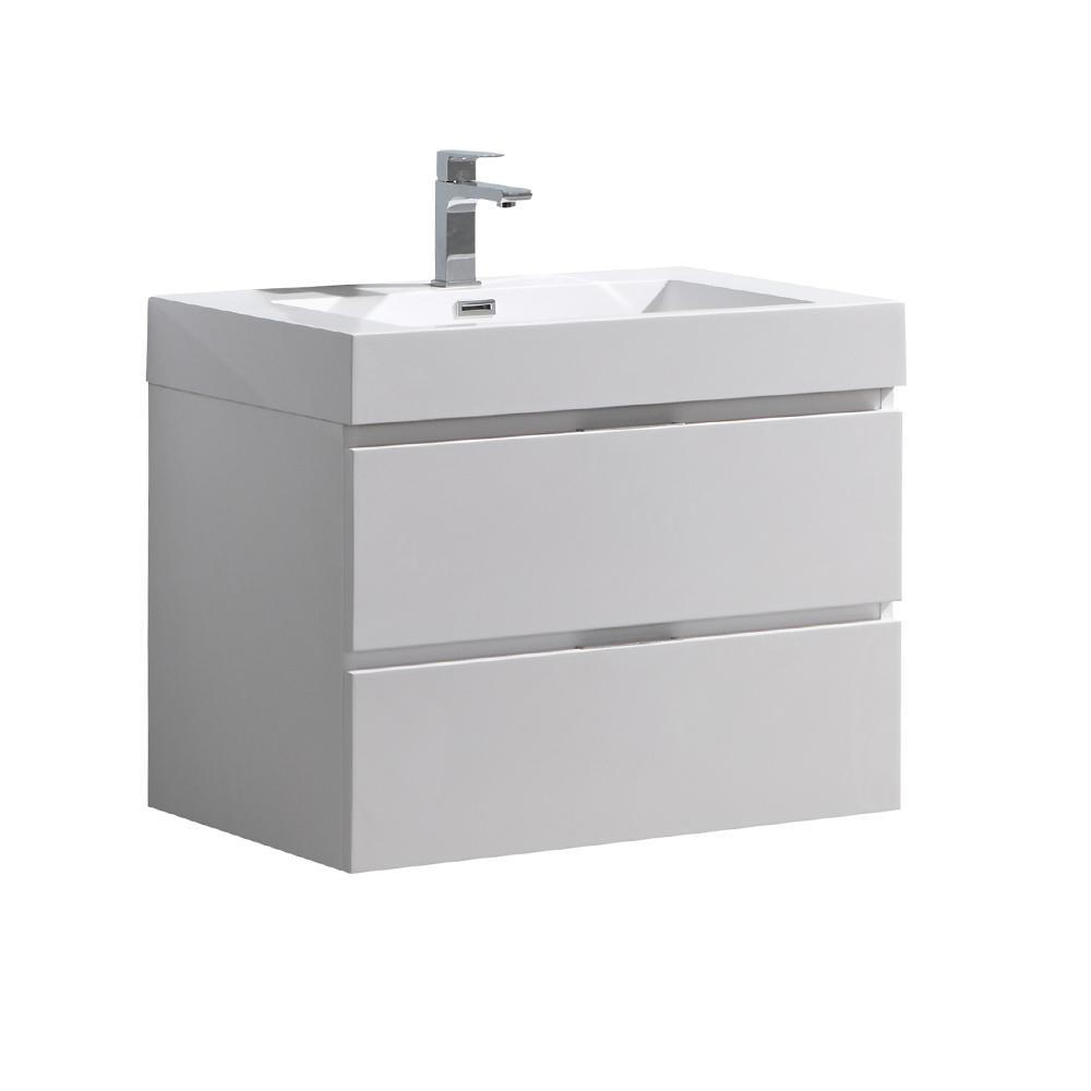 W Wall Hung Bathroom Vanity In Glossy White With Acrylic