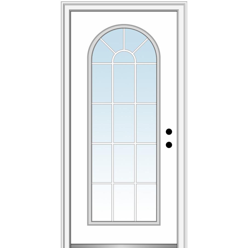 MMI Door 32 in. x 80 in. Classic Left-Hand Inswing Full-Lite Clear Round Top Primed Steel Prehung Front Door on 4-9/16 in. Frame