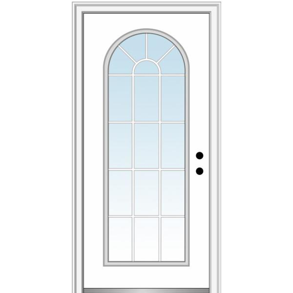 36 in. x 80 in. Classic Left-Hand Inswing Full-Lite Clear Round Top Primed Steel Prehung Front Door on 4-9/16 in. Frame