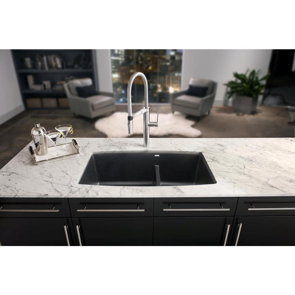 Blanco Performa Undermount Granite Composite 33 In 60 40 Double Bowl Kitchen Sink With Low Divide Anthracite