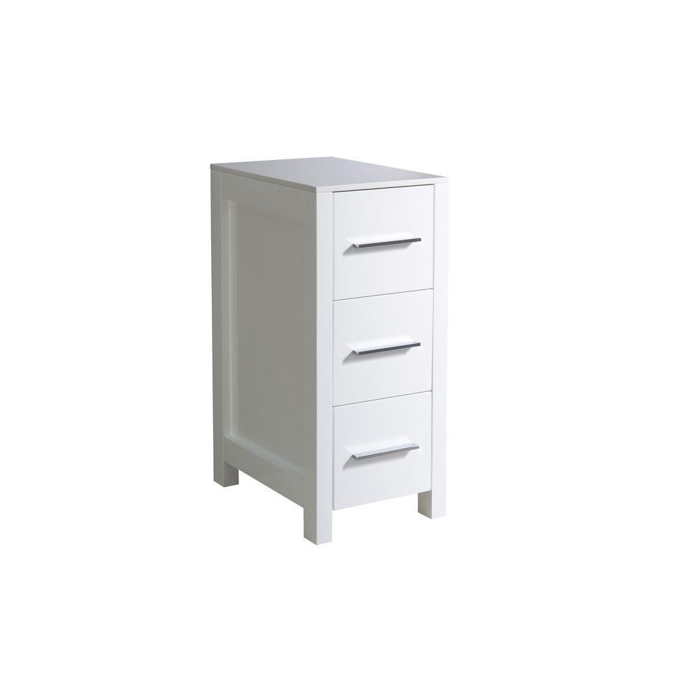 Torino 12 in. W x 28 in. H x 17-3/4 in. D Bathroom Linen Storage Cabinet in White