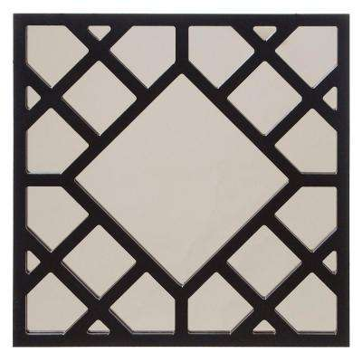 24 in. x 24 in. Glossy Black Cutwork Framed Mirror