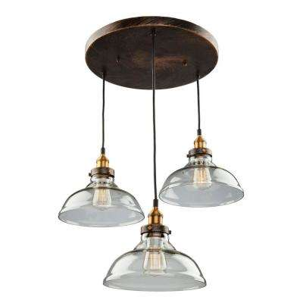 3-Light Bronze and Copper Pendant