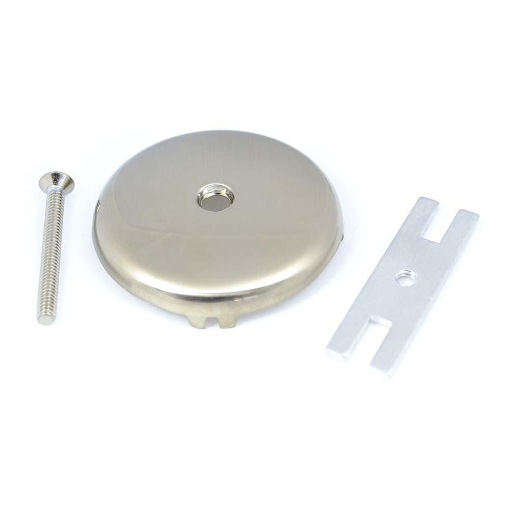 Tub Overflow Plate in Brushed Nickel
