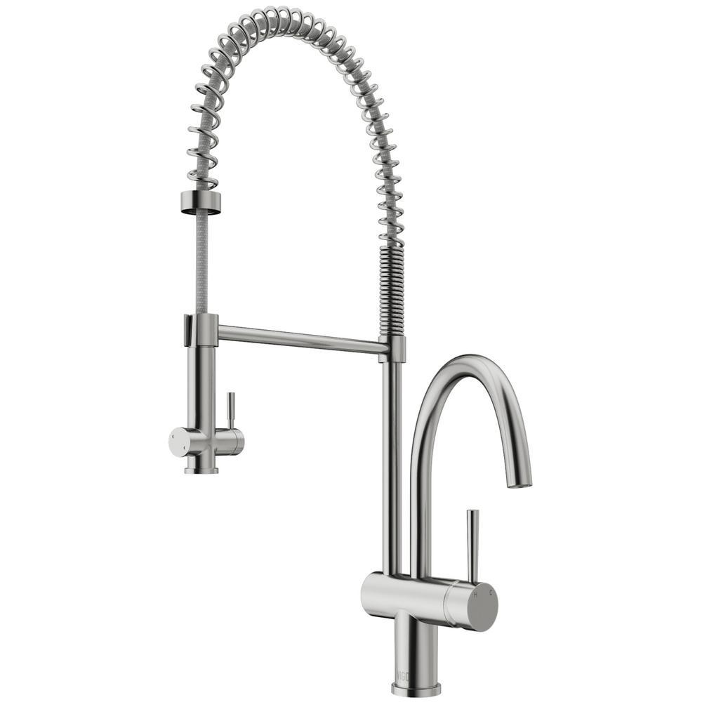 Vigo Dresden Single Handle Pull Down Sprayer Kitchen Faucet In Stainless Steel