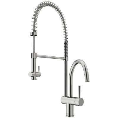 Dresden Single-Handle Pull-Down Sprayer Kitchen Faucet in Stainless Steel