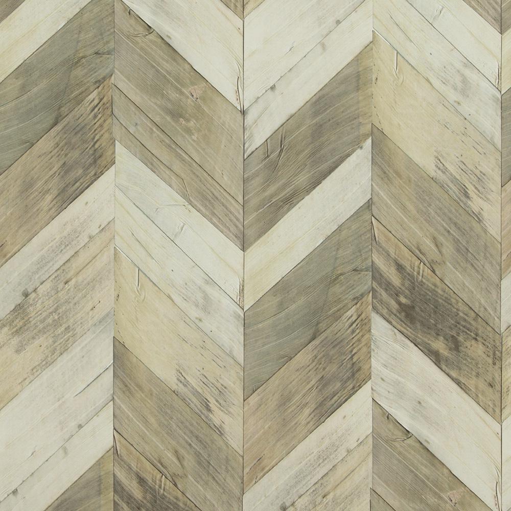 Wood Weathered Herringbone Grey And Beige Wallpaper R4660