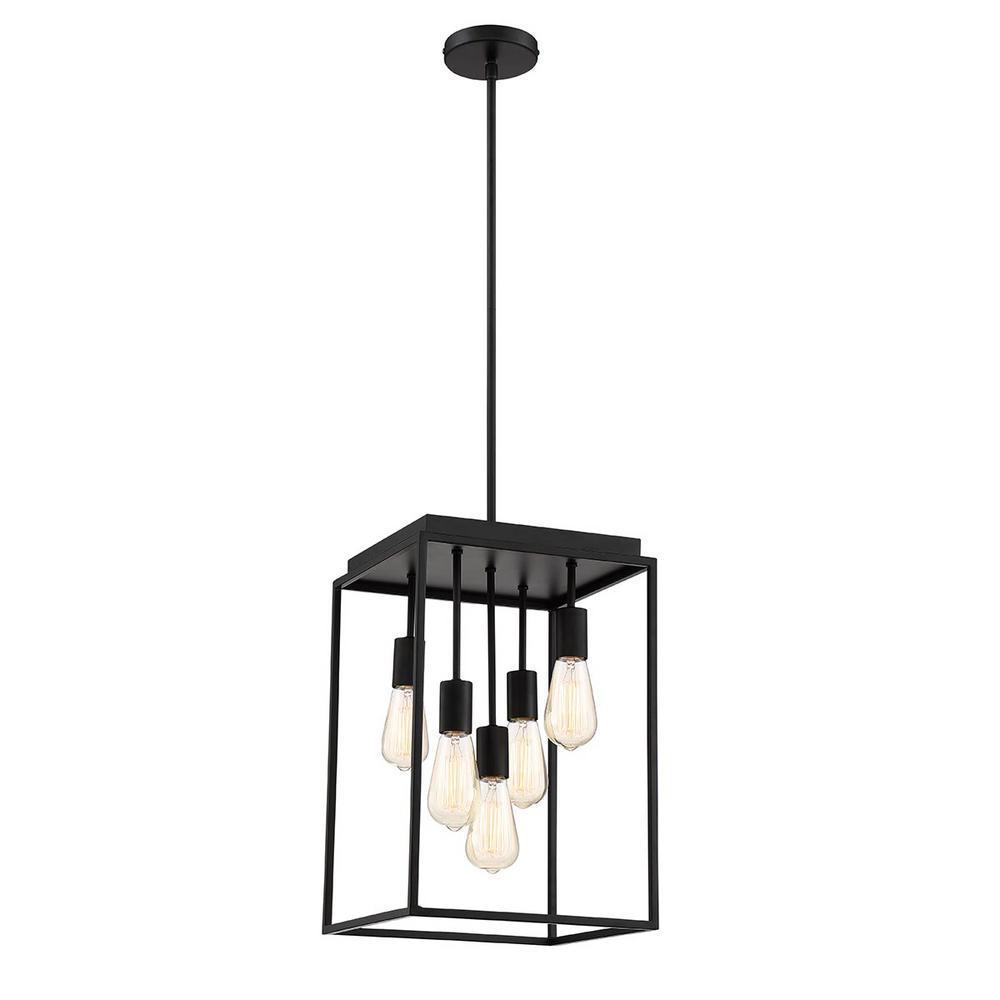 Home Decorators Collection Rollins 5-Light Black Chandelier