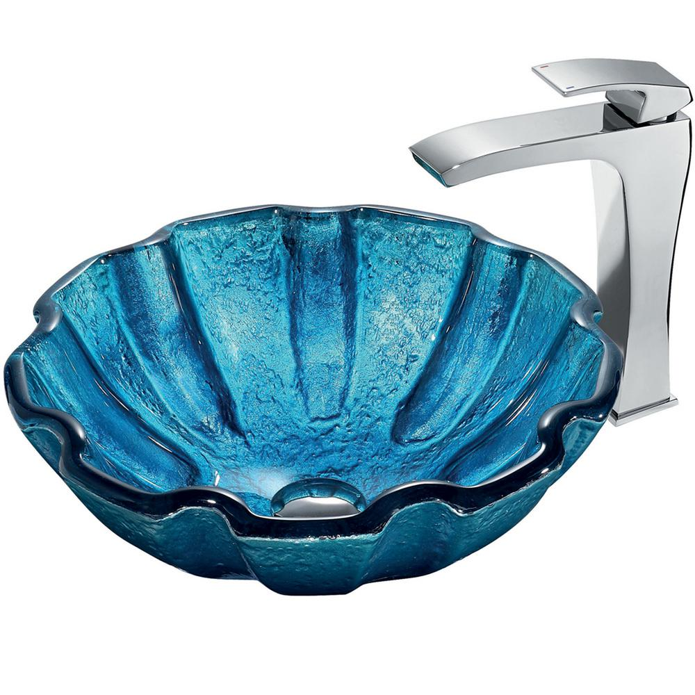 VIGO Mediterranean Seashell Vessel Sink in Blue with Faucet in Chrome
