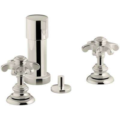 Artifacts Prong 2-Handle Bidet Faucet in Vibrant Polished Nickel