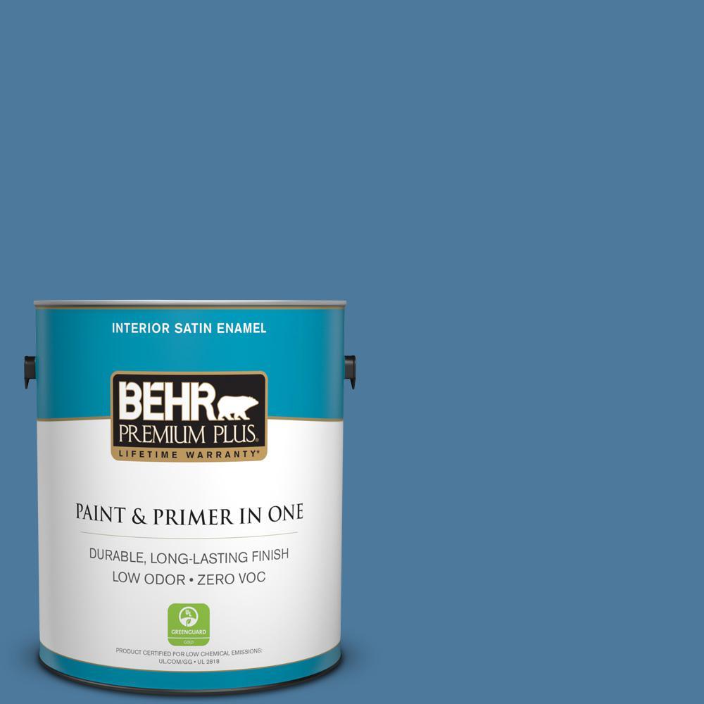 1 gal. #PPU14-02 Glass Sapphire Zero VOC Satin Enamel Interior Paint