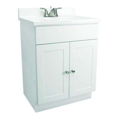 24 in. Vanity in White with Cultured Marble Vanity Top in White
