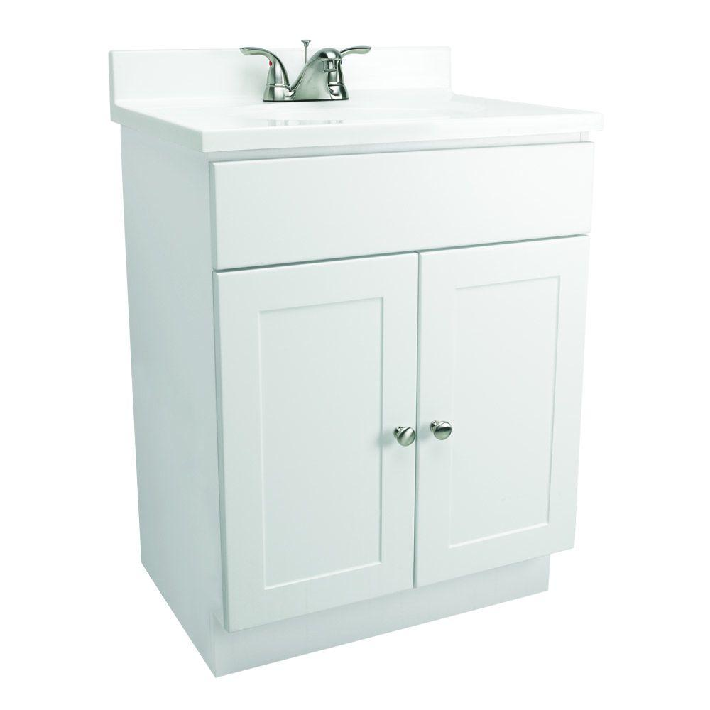 Design House 24 in. Vanity in White with Cultured Marble Vanity Top in White-DISCONTINUED