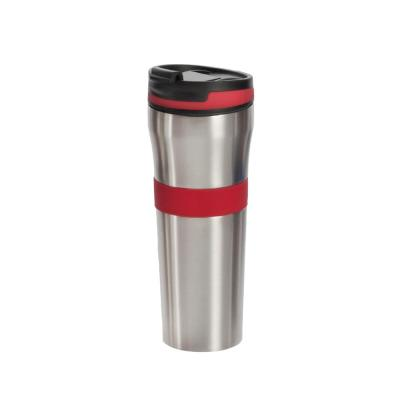 20 oz. Red Double Wall Stainless Steel Coffee Tumbler with Silicone Grip