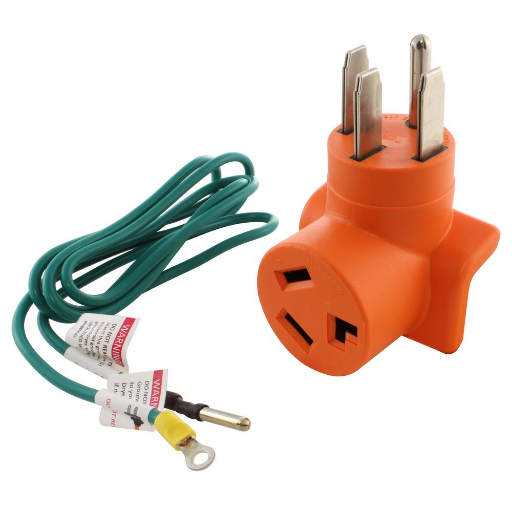 WELDER 3PRONG NEMA 6-30R RECEPTACLE to 4PIN 14-50P RANGE PLUG POWER CORD ADAPTER