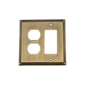 Nostalgic Warehouse Rope Switch Plate with Rocker and Outlet in Antique Brass by Nostalgic Warehouse