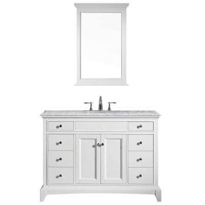 Stamford 42 in. W x 23.5 in. D Bath Vanity in White with Vanity Top in Grey with White Basin