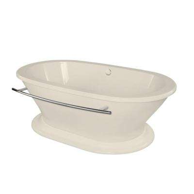 Columbia 5.8 ft. Center Drain Freestanding Bathtub in Biscuit