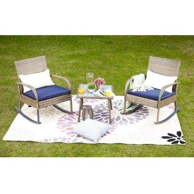 3-Piece Wicker Outdoor Rocking Chair Conversation Set with Blue Cushion