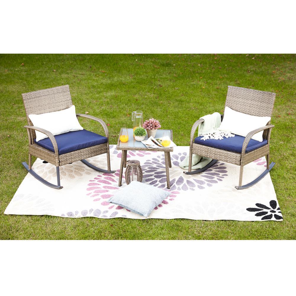 3-Piece Wicker Outdoor Rocking Chair Conversation Set with Blue Cushion