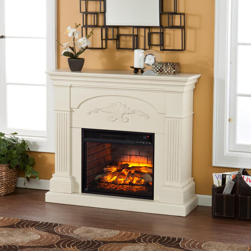 Dover 44.75 in. W Infrared Electric Fireplace in Ivory