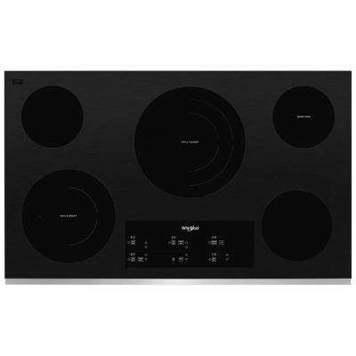 36 in. Radiant Electric Ceramic Glass Cooktop in Stainless Steel with 5 Elements and Triple Radiant Element
