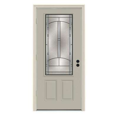 Idlewild 3/4 Lite Painted Premium Steel Prehung Front Door with Brickmould