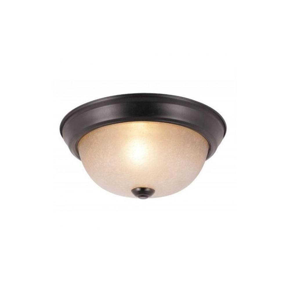 Stewart 1-Light Rubbed Oil Bronze Incandescent Ceiling Flushmount