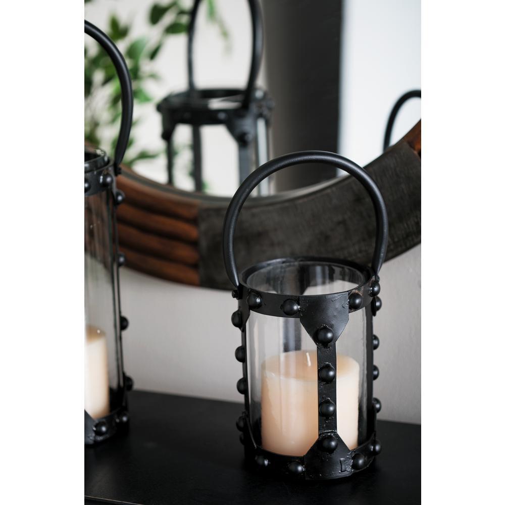 Black Cylindrical Candle Lantern