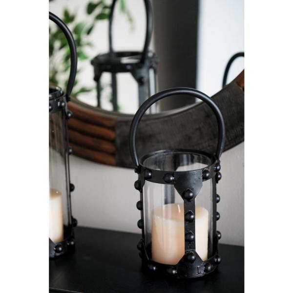 Litton Lane Black Cylindrical Candle Lantern 88763