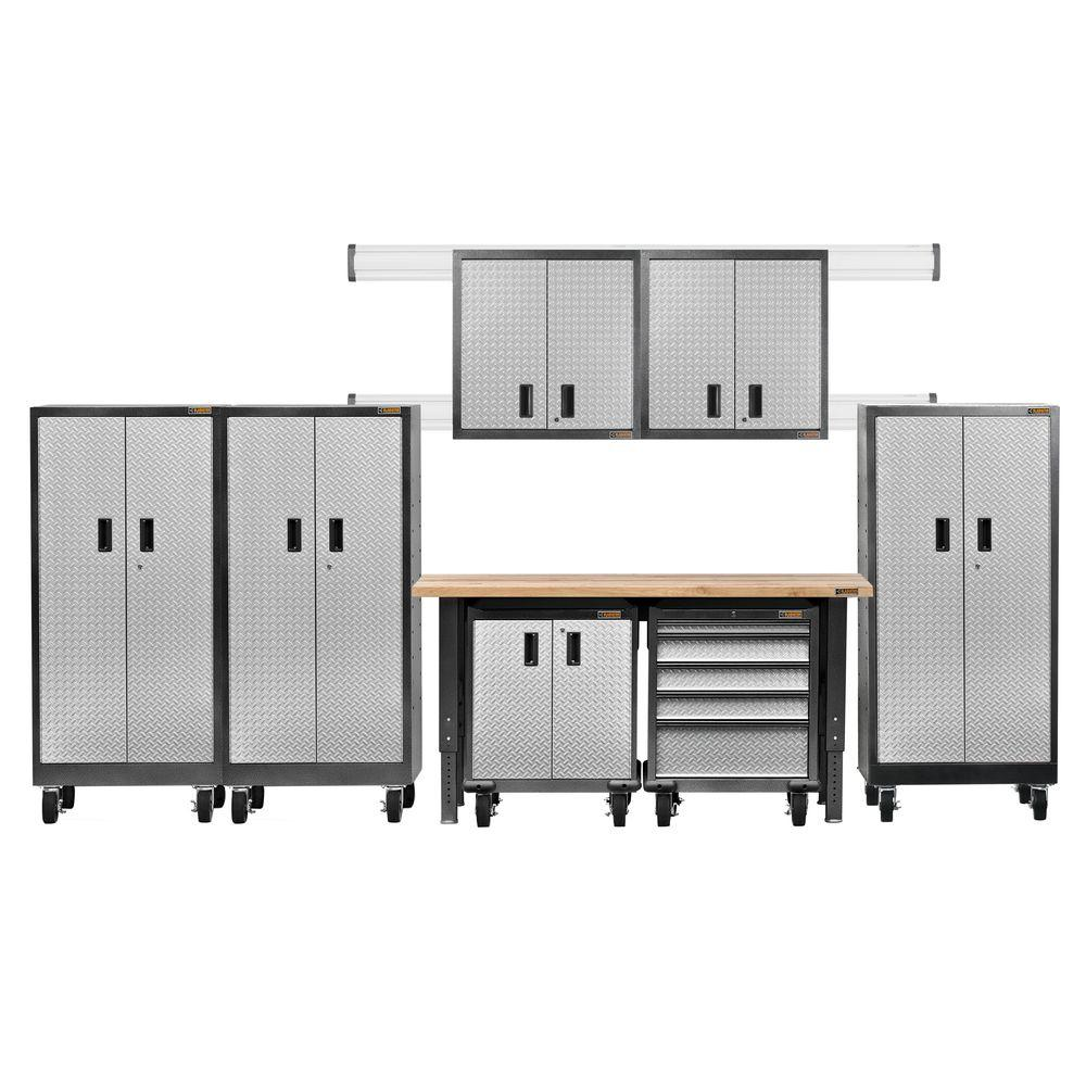 Gladiator Premier Series Pre Assembled 66 In. H X 162 In. W X 25 In. D  Steel Garage Cabinet Set In Silver Tread (8 Pieces) GAPK06P5DG   The Home  Depot