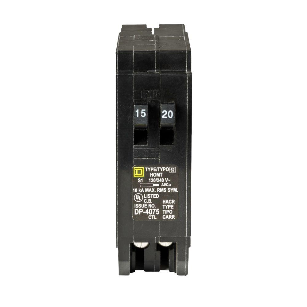 Square D Homeline 15 Amp 20 Amp Single-Pole Tandem Circuit Breaker ...