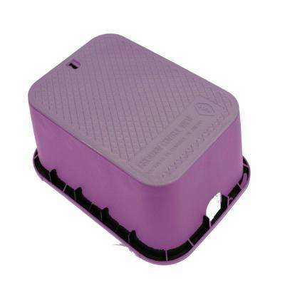 12 in. x 17 in. x 12 in. Deep Rectangular Valve Box in Purple Body Purple Lid