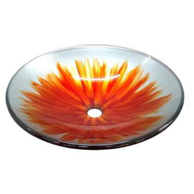 Blossom Glass Vessel Sink in Orange and White with Pop-Up Drain and Mounting Ring in Brushed Nickel