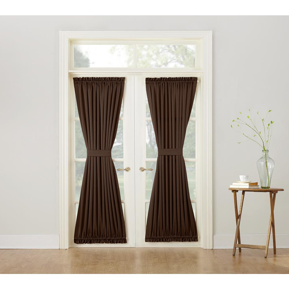 sun zero semi opaque gregory chocolate room darkening door panel curtain - Door Panel Curtains