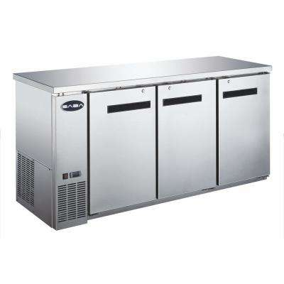 72 in. W 19.6 cu. ft. Commercial Solid Door Under Back Bar Cooler Refrigerator in Stainless Steel