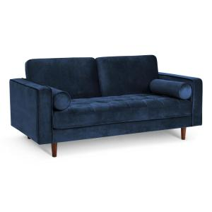 Poly and Bark 72 in. Inga Space Blue Apartment Velvet Sofa ...