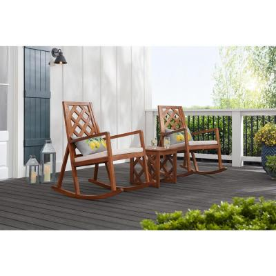 Willow Glen Farmhouse Teak Wood Outdoor Patio Rocking Chair with Beige Cushion