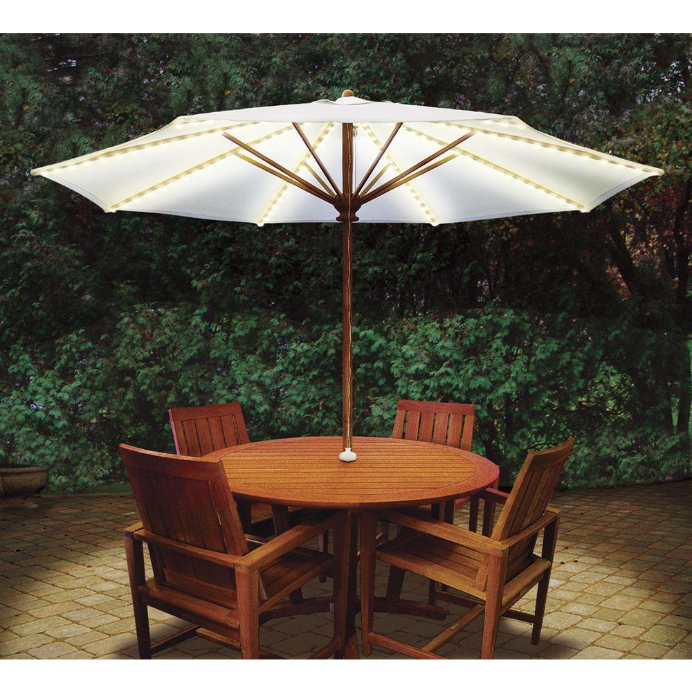 blue star group brella lights patio umbrella lighting system with power pod 5 rib - Patio Table With Umbrella