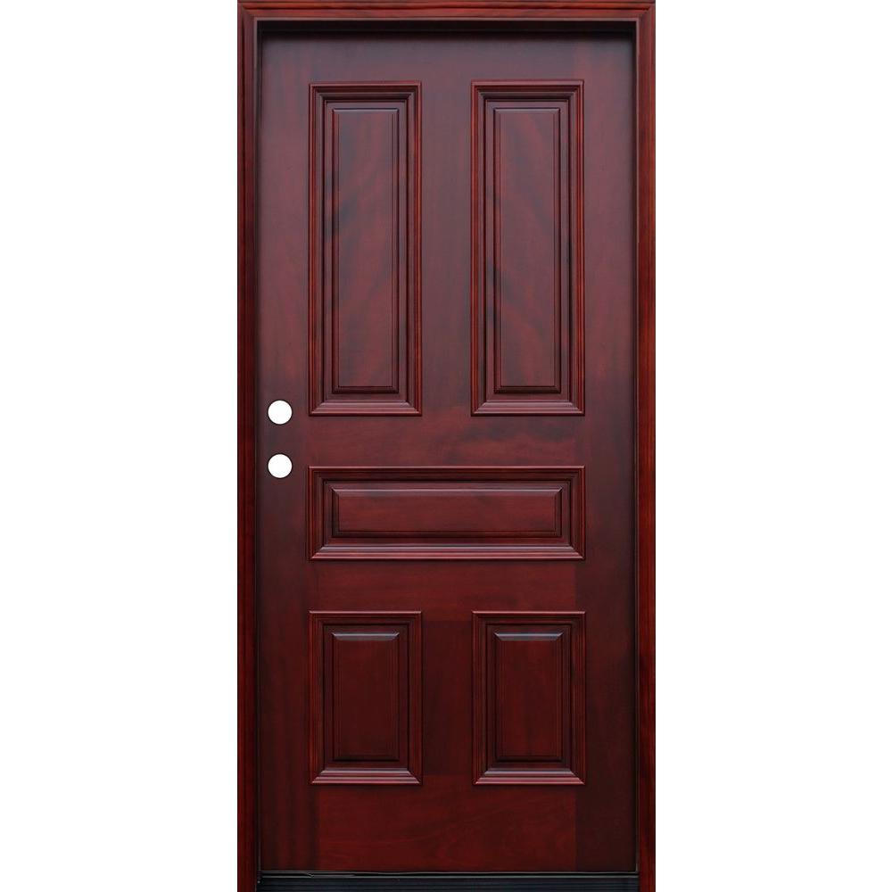 Pacific Entries 36 in. x 80 in. Traditional 5-Panel Stained Mahogany Wood Prehung Front Door with 6 in. Wall Series