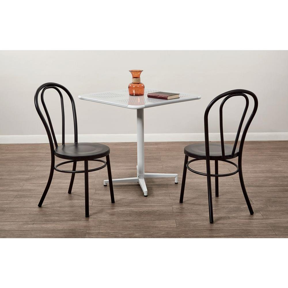 OSPdesigns Odessa Solid Black Metal Dining Chair Set of 2