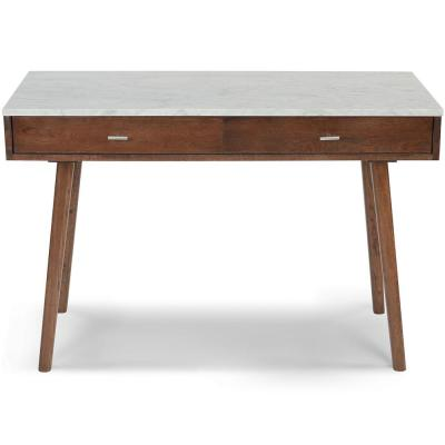 Viola 44 in. Rectangular Carrara White Wood 2-Drawer Writing Desk with Walnut Legs and Marble Top