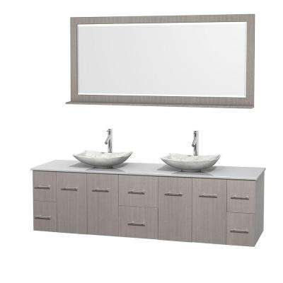 Centra 80 in. Double Vanity in Gray Oak with Solid-Surface Vanity Top in White, Carrara Marble Sinks and 70 in. Mirror