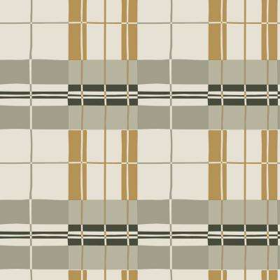 Novogratz Paired Back Plaid Mustard Self-Adhesive, Removable Wallpaper
