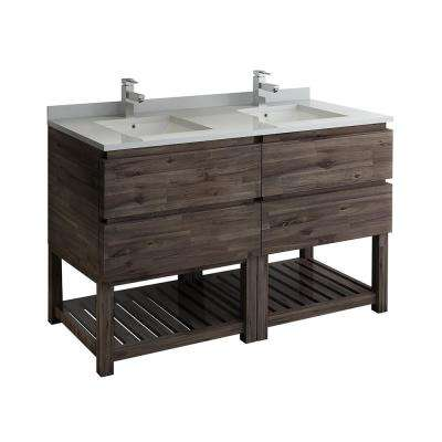 Formosa 58 in. W Modern Double Vanity Cabinet Only with Open Bottom in Warm Gray