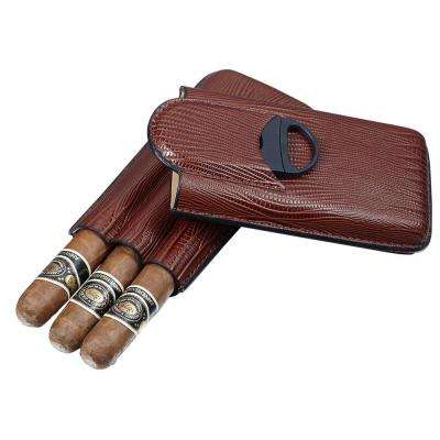 Granada Brown Leather 3-Finger Cigar Case with Cigar Cutter