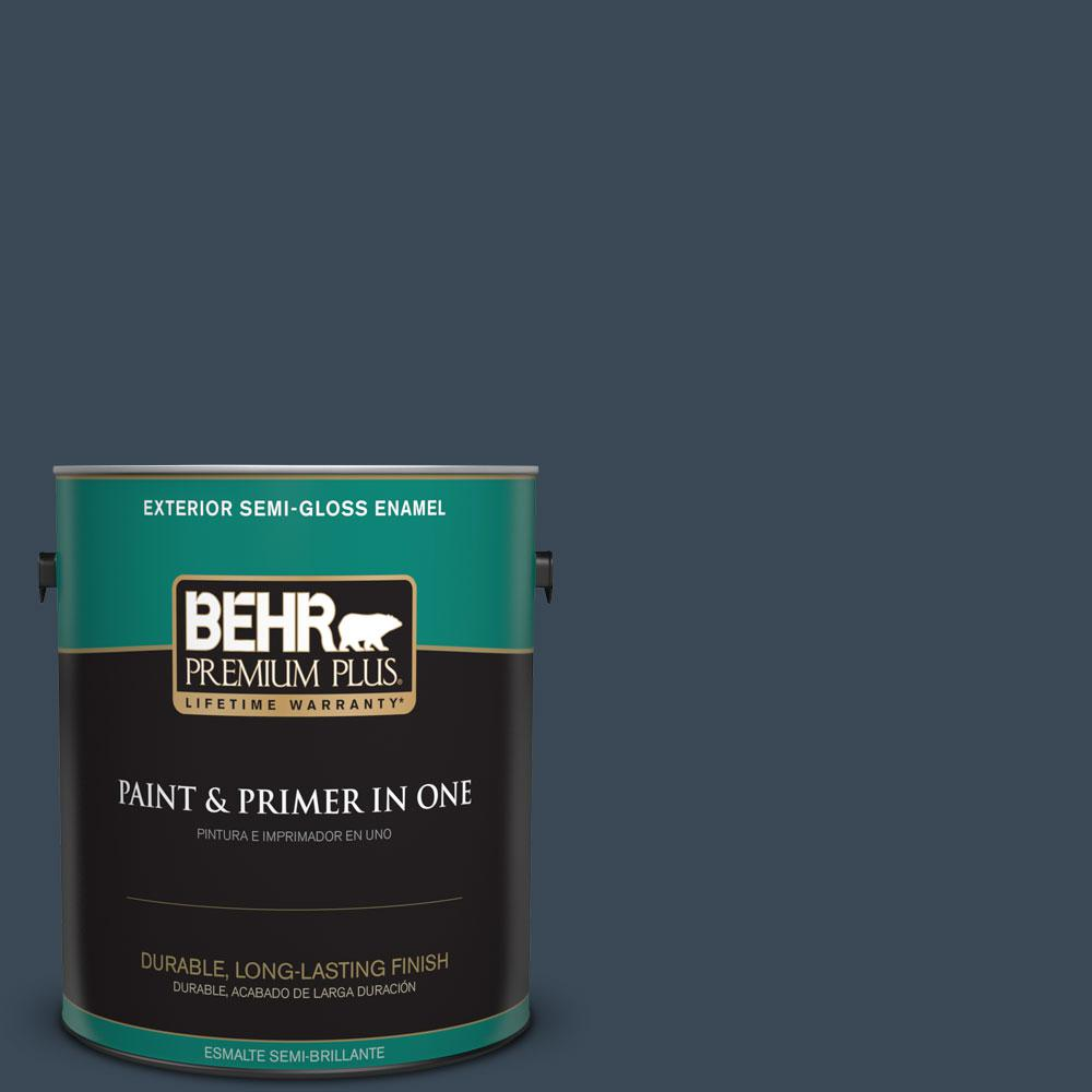 1-gal. #PPF-58 Dark Night Semi-Gloss Enamel Exterior Paint