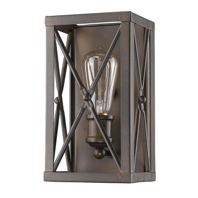 Brooklyn 1-Light Oil-Rubbed Bronze Sconce with Metal Framework Shade